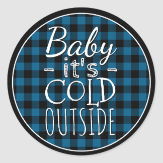 Traditional Blue Black Buffalo Check Plaid Pattern Classic Round Sticker