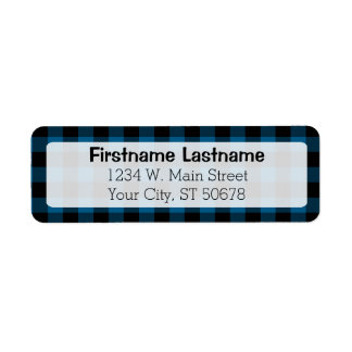 Traditional Blue Black Buffalo Check Plaid Pattern Label
