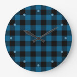 Traditional Blue Black Buffalo Check Plaid Pattern Large Clock
