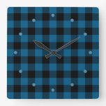 Traditional Blue Black Buffalo Check Plaid Pattern Square Wall Clock