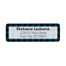 Traditional Blue Black Country Check Plaid Pattern Label