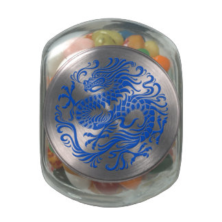 Traditional Blue Chinese Dragon Circle Glass Candy Jars