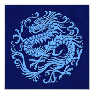 Traditional Blue Chinese Dragon Circle Card