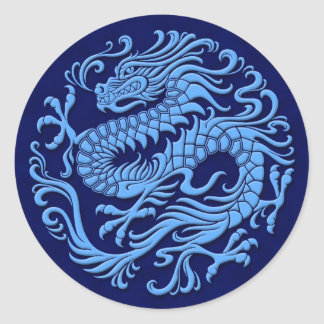 Traditional Blue Chinese Dragon Circle Round Stickers