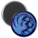 Traditional Blue Phoenix Circle 2 Inch Round Magnet