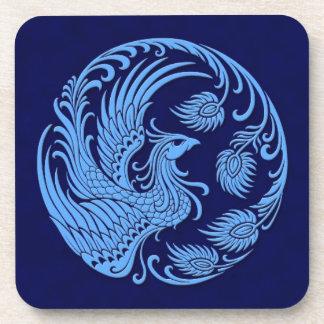Traditional Blue Phoenix Circle Drink Coaster
