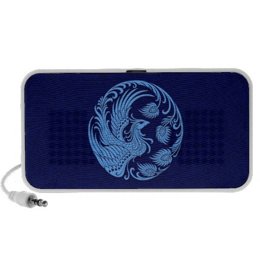 Traditional Blue Phoenix Circle Laptop Speakers