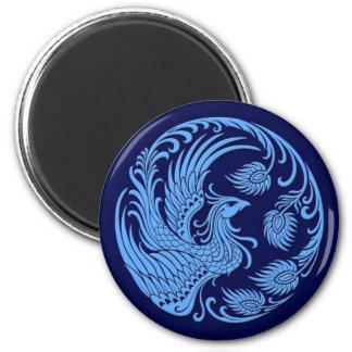 Traditional Blue Phoenix Circle Refrigerator Magnets