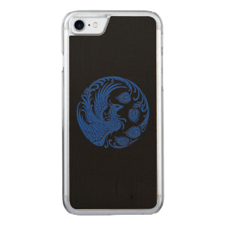 Traditional Blue Phoenix Circle on Black Carved iPhone 8/7 Case
