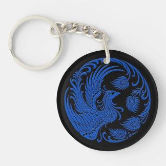Traditional Blue Phoenix Circle on Black Keychain