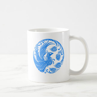 Traditional Blue Phoenix Circle on Red Coffee Mug