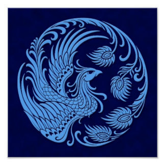 Traditional Blue Phoenix Circle Poster