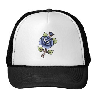 traditional blue rose trucker hat