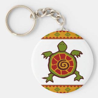 traditional border swirly turtle.ai basic round button keychain