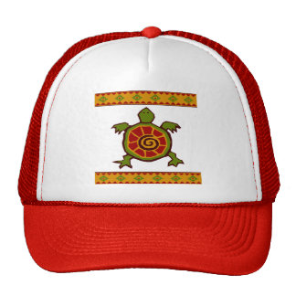 traditional border swirly turtle.ai trucker hat