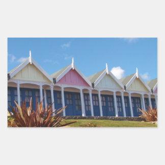 Traditional British Beach Huts Rectangular Sticker