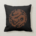Traditional Brown and Black Chinese Dragon Circle Pillow