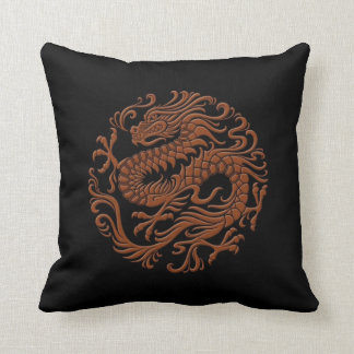 Traditional Brown and Black Chinese Dragon Circle Throw Pillow