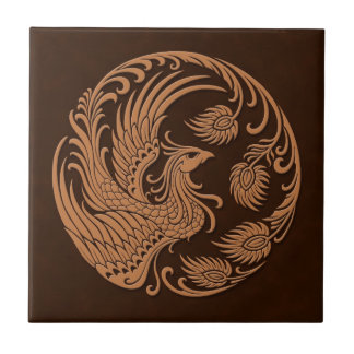 Traditional Brown Phoenix Circle Tiles