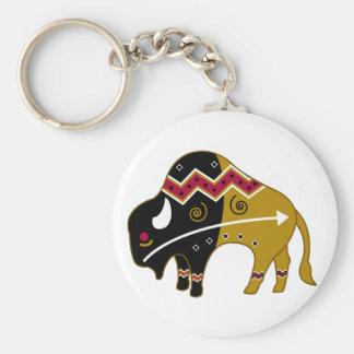 Traditional Buffalo Basic Round Button Keychain