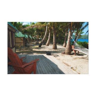 Traditional bures at a Fijian resort Canvas Print