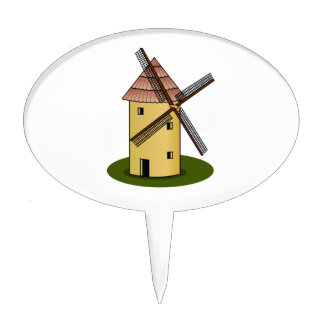 Traditional Cartoon European Windmill Cake Toppers