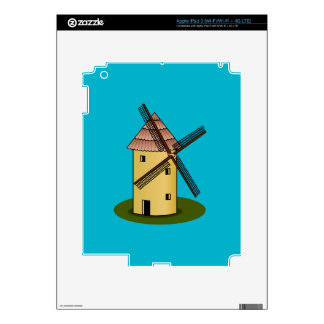 Traditional Cartoon European Windmill Decals For iPad 3