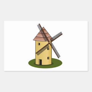 Traditional Cartoon European Windmill Rectangular Stickers