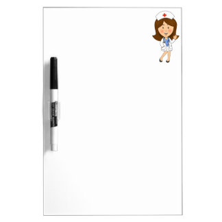 Traditional Cartoon Nurse Waving Dry Erase Whiteboards