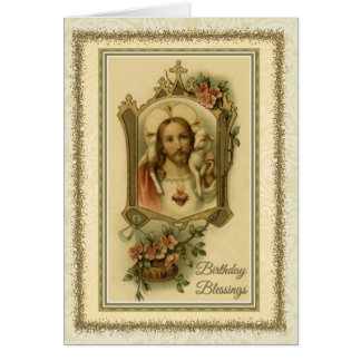 Traditional Catholic Birthday Jesus Blessing Card