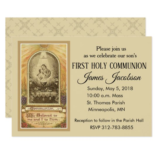 Traditional Catholic First Holy Communion Invitation Zazzle Com