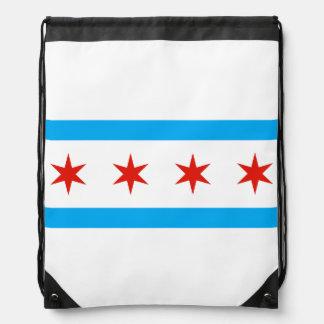 Traditional Chicago flag Drawstring Bag
