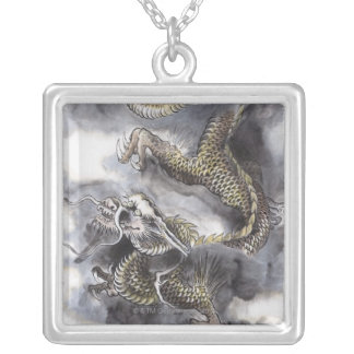 Traditional Chinese Painting, Year Of The Dragon 4 Square Pendant Necklace