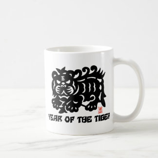 Traditional Chinese Paper Cut Year of Tiger Coffee Mug