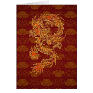 Traditional Chinese Red Dragon Card