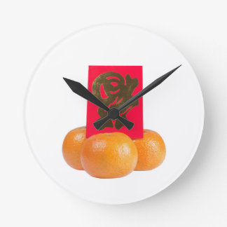 Traditional Chinese symbol for good fortune Round Clock
