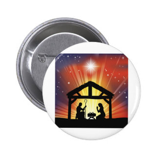 Traditional Christian Christmas Nativity Scene Pinback Button