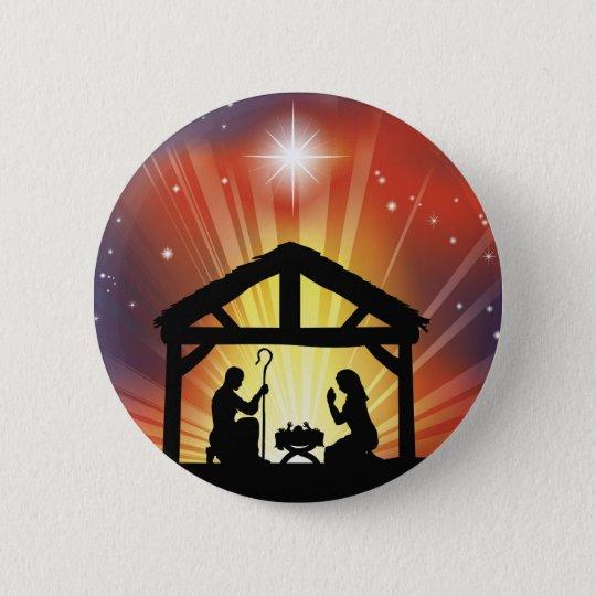Traditional Christian Christmas Nativity Scene Button