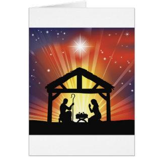 Traditional Christian Christmas Nativity Scene Card