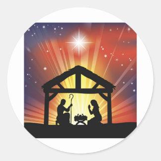 Traditional Christian Christmas Nativity Scene Classic Round Sticker