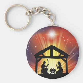 Traditional Christian Christmas Nativity Scene Keychain