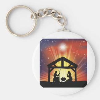 Traditional Christian Christmas Nativity Scene Key Chain