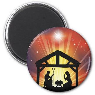 Traditional Christian Christmas Nativity Scene Fridge Magnet