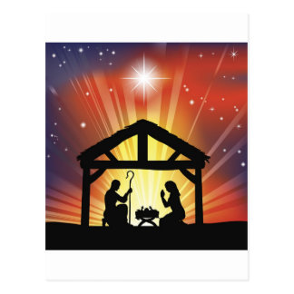 Traditional Christian Christmas Nativity Scene Post Card