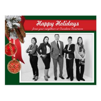 Traditional Christmas Business Photo Greeting Postcard