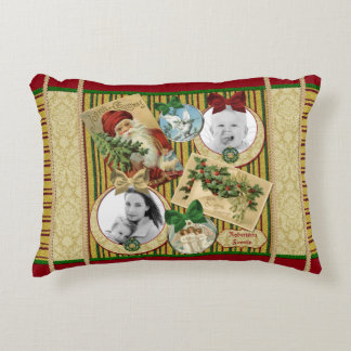 Traditional Christmas Classic Holiday Photo Frame Accent Pillow