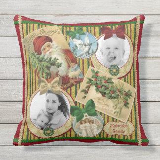 Traditional Christmas Classic Symbols Custom Frame Throw Pillow