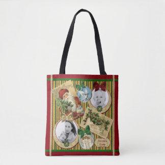 Traditional Christmas Classic Symbols Custom Frame Tote Bag