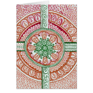 Traditional Christmas Colors Damask Indian Mandala Card
