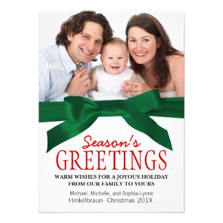 Traditional Christmas Family Photo Red Green Personalized Announcements